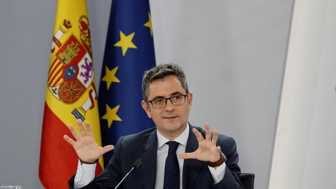 El ministro de la Presidencia, Félix Bolaños, este martes.