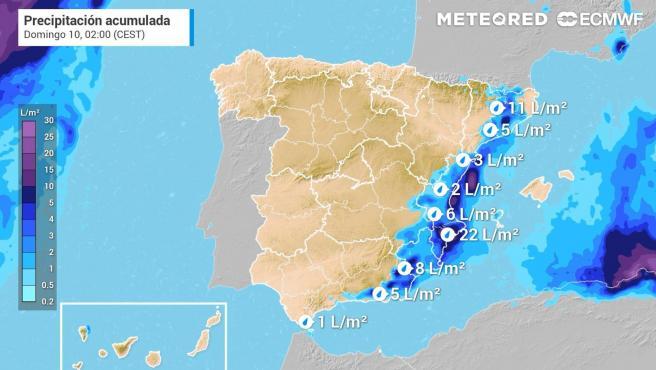 Acumulados de precipitación previstos hasta la jornada del domingo.