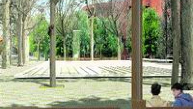 Imatge virtual de com serà el nou espai de la Diagonal, envoltat de bancs.