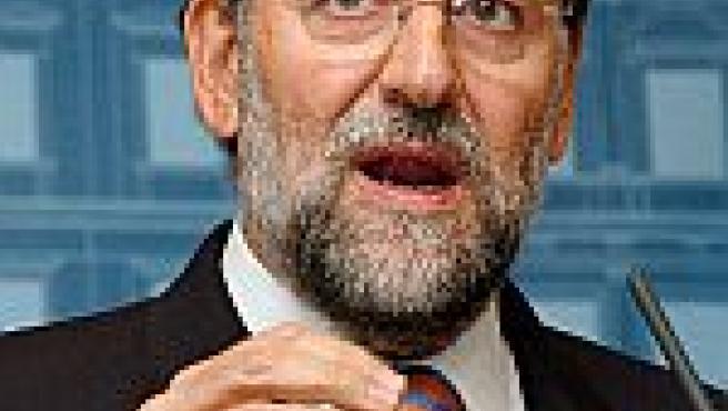 El líder del PP, Mariano Rajoy, en una reunión del partido