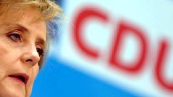 La presidenta de la Unión Cristiano Demócrata (CDU), Angela Merkel, durante una conferencia de prensa del partido en Berlín
