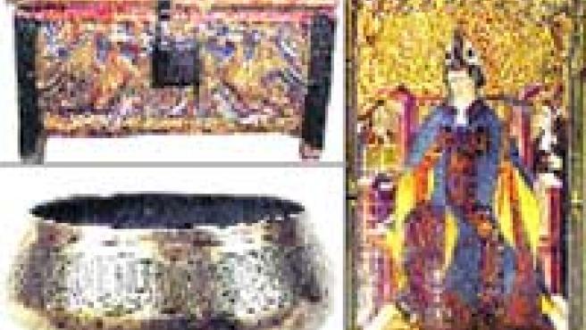 Piezas reclamadas, de Buira (arqueta), Algayón (retablo) y un cuenco árabe.