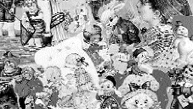 Chapas, cromos, canicas y hasta los 'clips' de Playmobil forman parte de este jardín de diversión que Adela Pérez ha creado en la Tetería Harem.