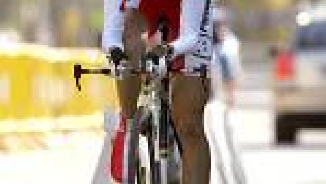 La ciclista Joane Somarriba, durante la contrarreloj femenina de los Mundiales de Ciclismo 2005