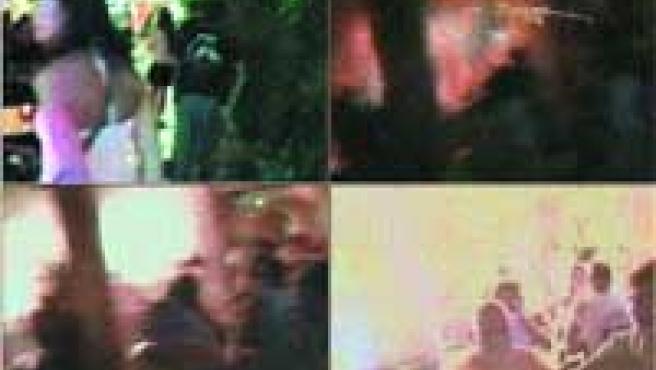 Uno de los posibles terroristas aparece arriba a la izquierda, con una mochila a la espalda, en las imágenes de un videoaficionado. Luego, se interna en una terraza y explota una bomba, tal como muestra la secuencia.