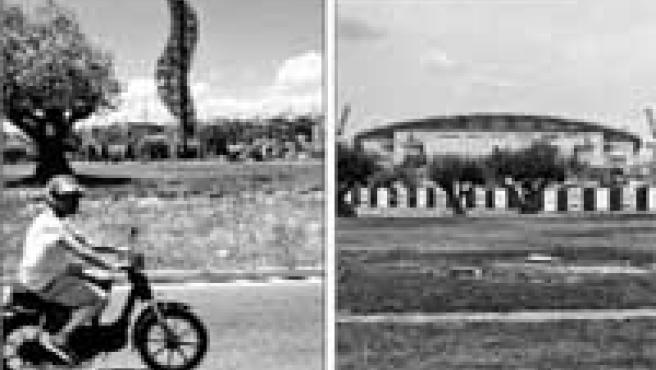 Antes y ahora. El logotipo (izquierda) presidía la plaza de Grecia. Sólo queda su huella (derecha).