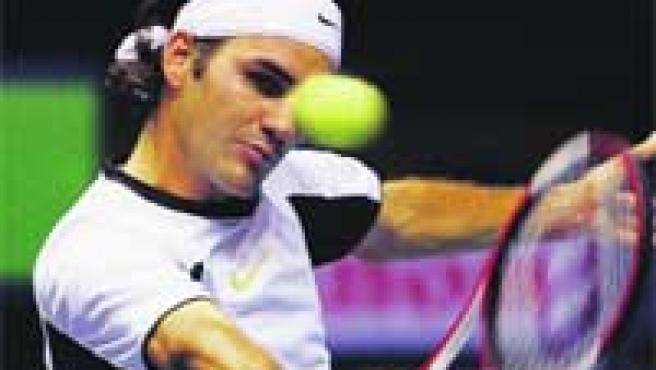 Roger Federer, durante el partido de ayer ante Murray.