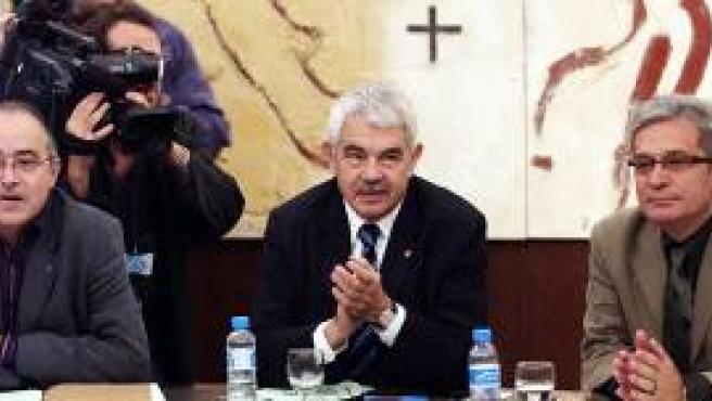 Pasqual Maragall, Josep Bargallo (izda) y Joan Saura (Efe).