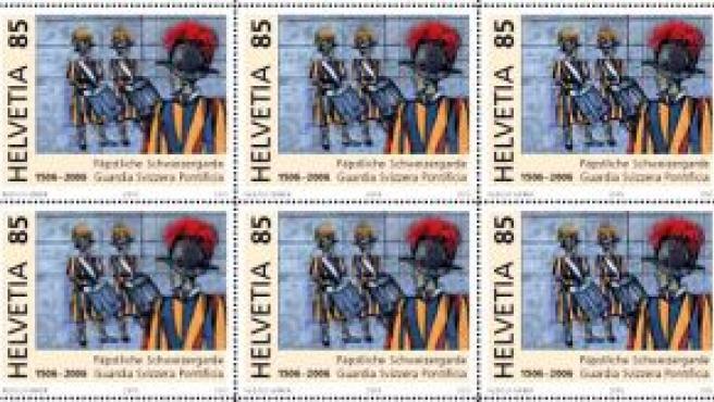 Sello del Vaticano conmemorativos del 500 aniversario de la fundación Guardia Suiza.