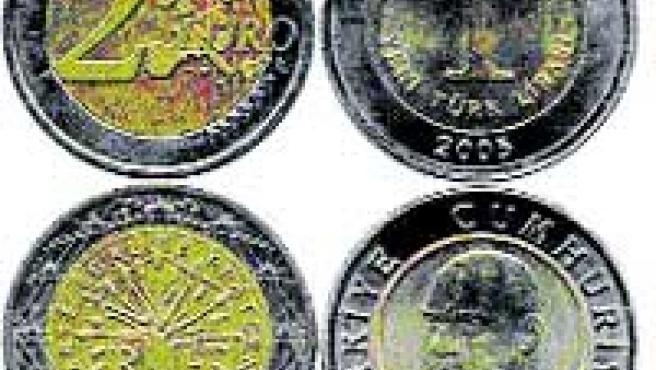La moneda de dos euros (columna izda.) es 'prima hermana' de la lira turca.