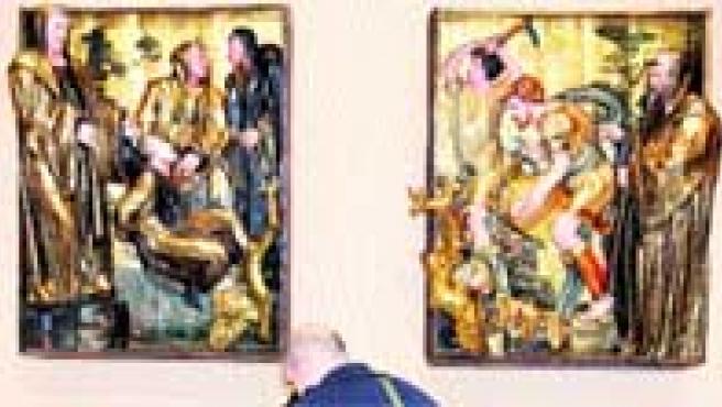 De un retablo. San Benito y el milagro del agua (a la izquierda) y San Mauro salva a San Plácido.