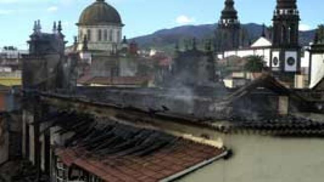 El Obispado de Tenerife, tras el incendio (Efe).