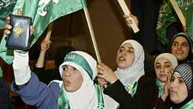 Miembros de Hamás durante una manifestación en Ramala. (AP)