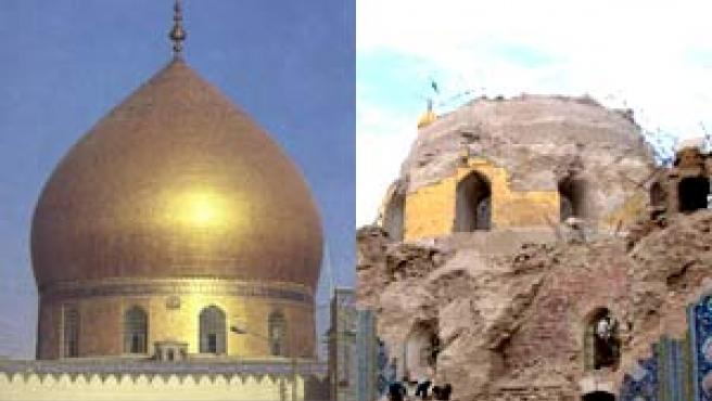 La cúpula del templo del Imán Ali Al-Hadi, antes y después del ataque sufrido en 2006 (20minutos / Efe).