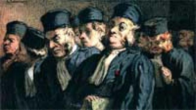 Abogados y jueces, antes de la audiencia, de Honoré Daumier.