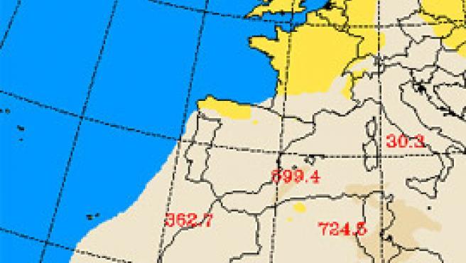 Predicción de la nube de polvo sobre España, para el miércoles 26 a las 6.00 (Universidad de Atenas).