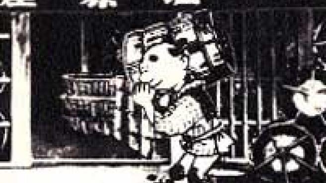 Un fotograma de 1925 del corto La vida de Shiobara Tasuke.