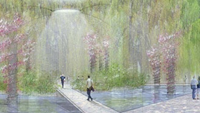 Imagen virtual de la isla con la cúpula de flores.