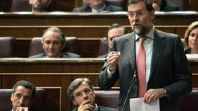 Rajoy, ZaplanayAcebes en la sesión de control al Gobierno. (Efe)