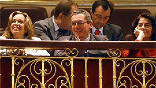 Trinidad Jiménez, Gallardón y Sabanés, en el Congreso (foto: Ayuntamiento de Madrid).