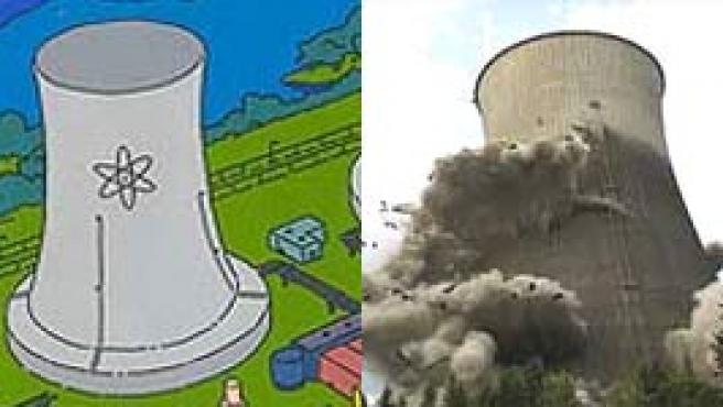 La central de 'Los Simpson' a la izq. y la que le sirvió de modelo, al ser dinamitada (Twenty Century Fox / AFP)