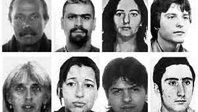 Uno de los últimos golpes a los GRAPO fue la detención en París, en 2003, de (i-d, arriba-abajo) Fernando Hierro, Marcos Martín, María Angeles Ruiz, Joaquín Garrido, Josefina García, Gema Rodríguez, Marcos Regueira y Antonio Lago. (Reuters)