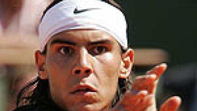 Nadal, en un momento del partido ante Ljubicic en las semifinales de Roland Garros