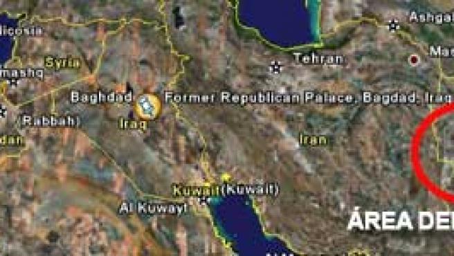 Localizador del áera en la que han resultado heridos cinco soldados españoles en Afganistán (Google Earth).