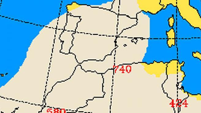 Predicción de la nube de polvo sobre España, para el martes 11 a las 18.00 (Universidad de Atenas).