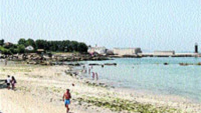Los bañistas pasean por la arena sin problemas de espacio. (M. Vila)