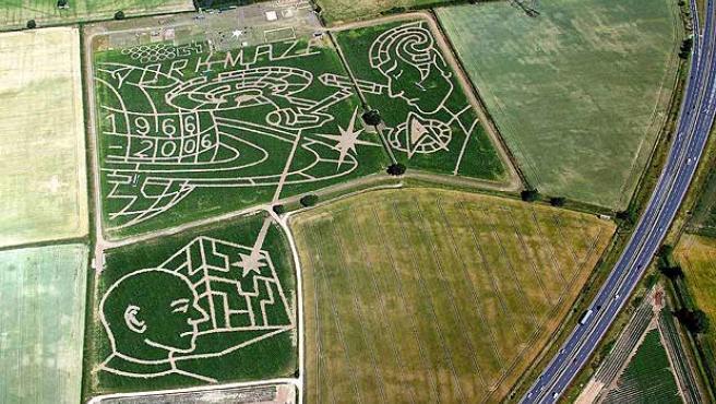 Este laberinto de maíz celebra los 40 años desde la emisión del primer episodio de Star Trek. (Ho / Reuters)
