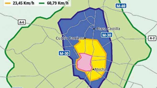 Mapa de la velocidad en las calles de Madrid
