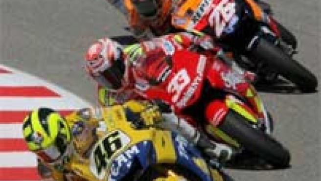 Rossi, Melandri, Hayden y Pedrosa, en plena carrera. (Archivo)