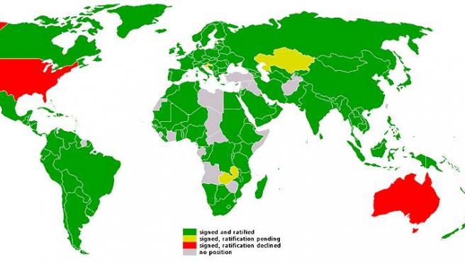 Mapa mundial sobre la postura con respecto a Kioto. (Wiki)