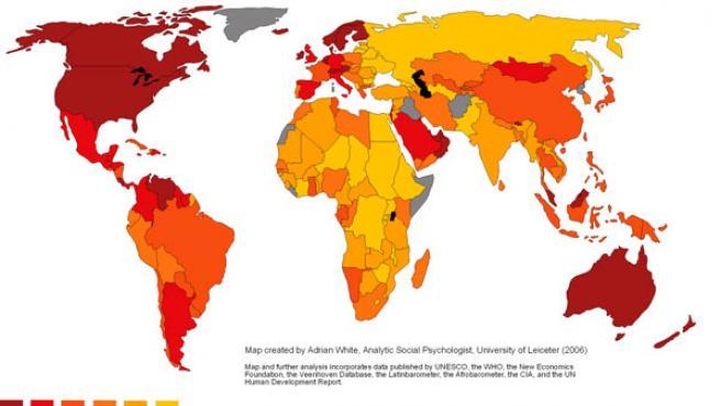 El mapa mundial de la felicidad. En rojo, las naciones más felices, en amarillo, las más infelices (Adrian White, Analytic Social Psychologist, University of Leicester)