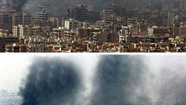 Beirut, antes y después de la manipulación del fotógrafo de la agencia. (Reuters)
