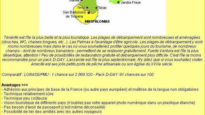 Una web senegalesa, ofrece junto a un mapa de destinos en Canarias, el coste del viaje. (senegalaisement.com)