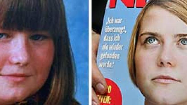 Natascha Kampusch antes y después del secuestro que vivió durante más de ocho años.