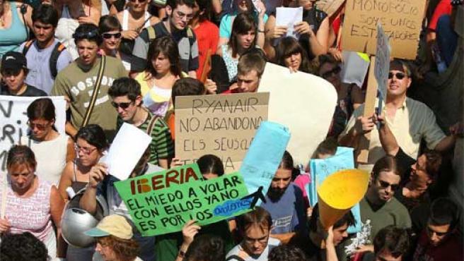 Imagen de la protesta, en la plaza Cataluña de Barcelona (Archivo).