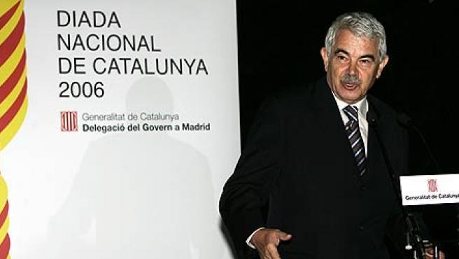Pasqual Maragall, durante su intervención en la celebración de la Diada Nacional de Cataluña en Madrid (EFE/Alberto Martín)
