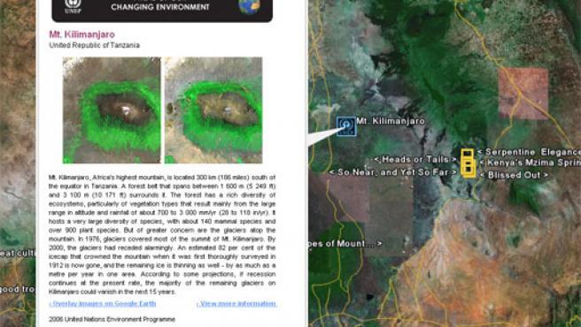 Nueva información sobre el monte Kilimanjaro en Google Earth.