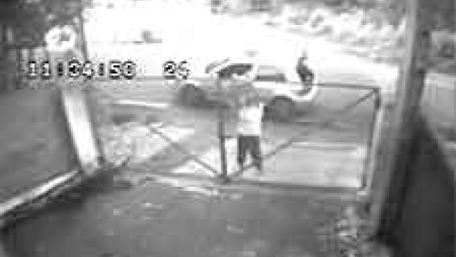 Imagen en la que se ve a un individuo arrojando un perro por encima de una verja (Archivo).