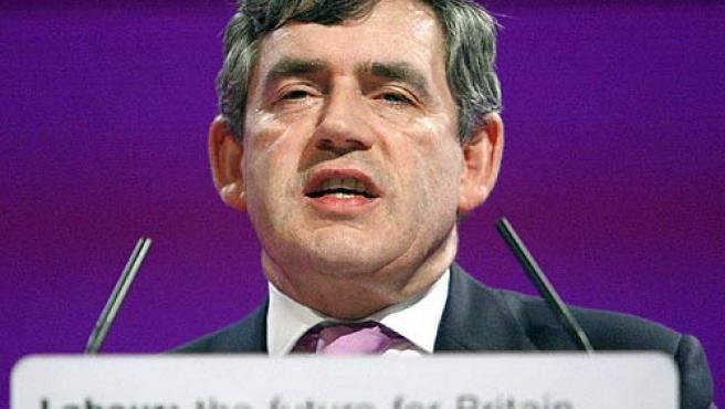 Gordon Brown en un discurso durante el congreso del Partido Laborista celebrado en Manchester el 25 de septiembre. (Richard Lewis / Efe)