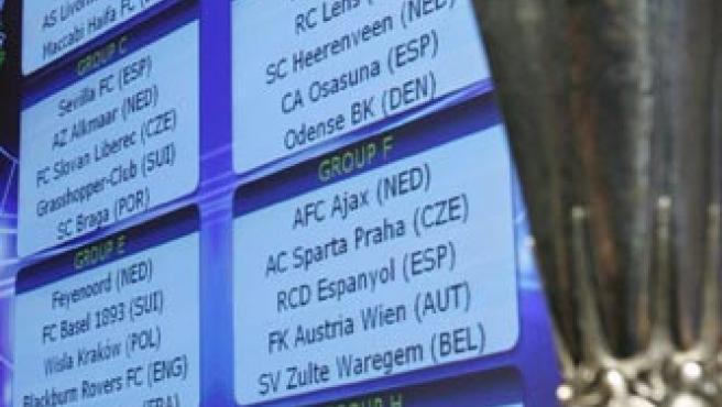 Los grupos tras el sorteo de la fase de grupos de la Copa de la UEFA. (Efe)