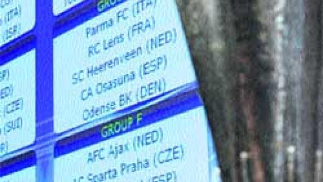 Pantalla donde se muestra la composición de los grupos de la Copa de la UEFA.(EFE)