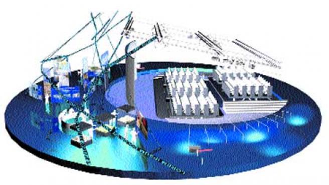 Imagen virtual de la plaza, con las butacas móviles, la pantalla de proyección y los paneles informativos.