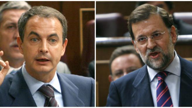 Duelo dialéctico de Zapatero y Rajoy en el Congreso. (EFE)