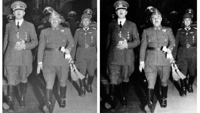 Foto de Franco con Hitler en la que Franco está con ojos abiertos, pero en la original los tenía cerrados.