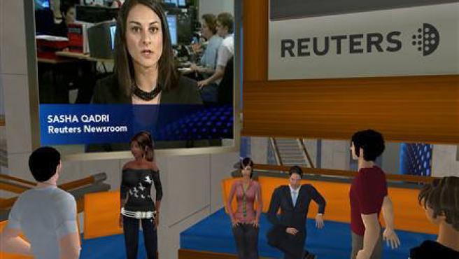 Modelos de Second Life interactuando en un centro de Reuters de ese mundo virtual. (Reuters Second Life)