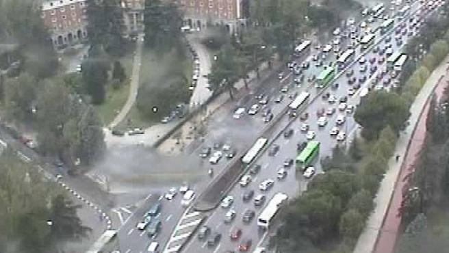 Atasco en la entrada a Madrid por Moncloa, poco antes de las 10 de la mañana (Ayuntamiento de Madrid)